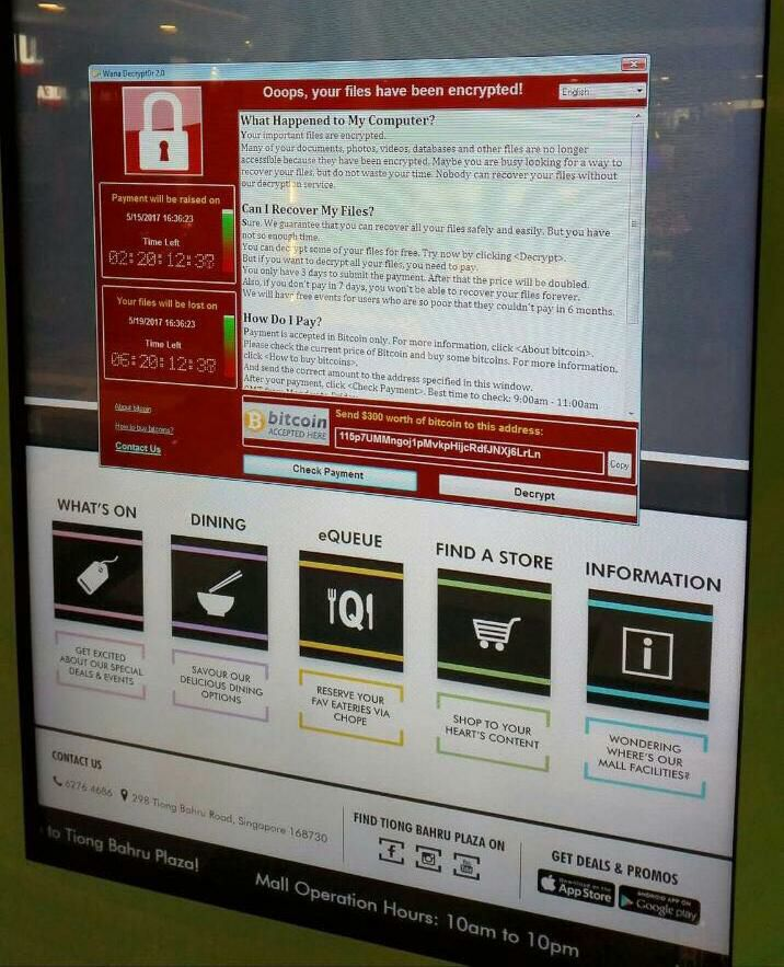 Display in Tiong Bahru Plaza infected with WannaCry in Singapore.